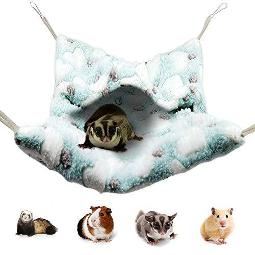 Pet Small Animal Hanging Hammock, HOMEYA Snuggle Hideout Nap Sack Bag for Ferret Guinea-Pig Hamster Rat Mice Chinchilla Flying Squirrel Gerbil Dwarf Sleep Cage...