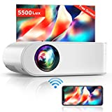 Projector, YABER V2 WiFi Mini Projector 5500 Lux [Projector Screen Included] Full HD 1080P and 200' Supported, Portable Wireless Mirroring Projector for iOS/Android/TV Stick/PS4/PC Home & Outdoor