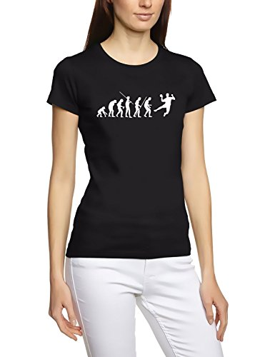 Coole-Fun-T-Shirts T-Shirt Handball evolution Girly, schwarz, L, 10627_schwarz-girly_GR.L