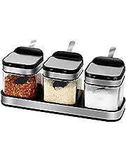Queta Tarro de condimento de vidrio Coctelera de especias con tapa de acero inoxidable 3 piezas caja de condimento de vidrio y 3 cucharas de server.