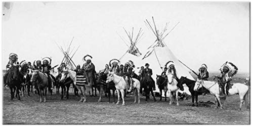 Eryan Bianco e nero nativo indiano in indiano a cavallo di pittura poster Poster e stampe quadro di tela Scandinavian wall sfondi gratuiti per soggiorno -70X140CM Nessuna cornice