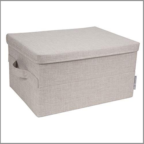 Bigso Box of Sweden mittelgroße Aufbewahrungsbox mit Deckel und Griff – Schrankbox aus Polyester und Karton in Leinenoptik – Faltbox für Kleidung, Bettwäsche, Spielzeug usw. – beige