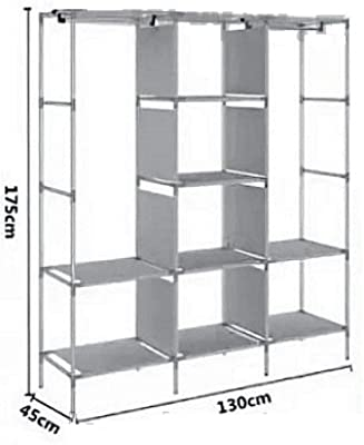 Inditradition European Pattern Multipurpose Cloth Storage Wardrobe Almirah, 3 Sections | Foldable Cabinet, Closet & Cloth Organizer | 5.75 Feet Height (Grey Color)