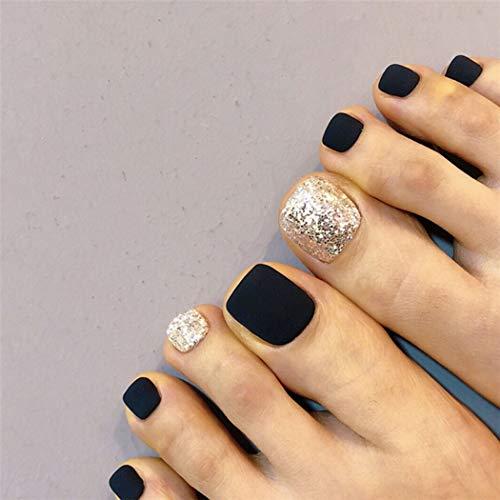 Jovono Clavos falsos negros mate plata brillo corto cuadrado uñas postizas prensa en uñas uñas acrílico pies uñas para mujeres y niñas 24 piezas