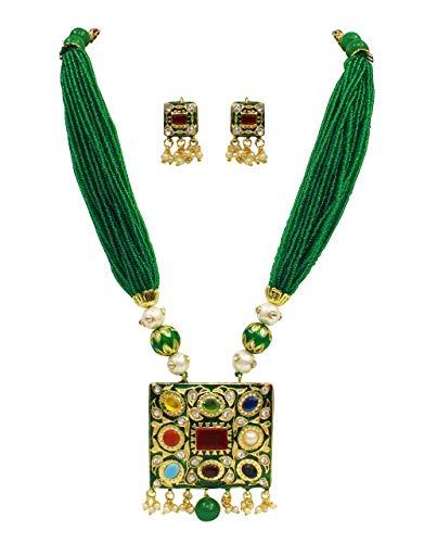 Traditionelles Navratanisches Mehrfarbiges Meenakari-Anhänger-Set Jaipuri-Schmuck