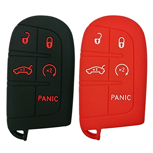 Coolbestda 2Pcs Silicone Smart 5buttons Key Fob Skin Cover Case Protector Keyless Jacket Remote Bag for Jeep Grand Cherokee Dodge Challenger Charger Dart Durango Journey Chrysler 300