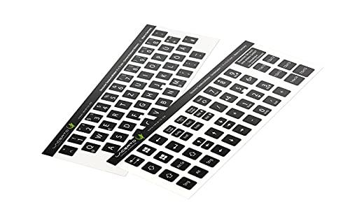 Lacerto® | 11x13mm - Deutsches Aufkleberset für PC & Laptop Tastaturen inkl. Zusatztasten & Ziffernblock | Farbe: Schwarz
