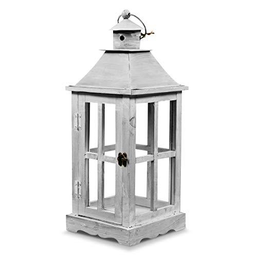 Lanterne Bois Cerusé Blanc 19x19x47cm - Décoration d'Autrefois