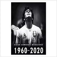 キャンバスにポスタープリント、クラシックディエゴマラドーナ1960/2020ノスタルジアは世界で最高のサッカー選手として広く認められました、ポスターとプリント40x60 Cm Unframed