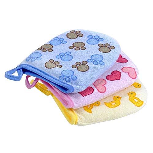 Kaxofang 3PCS Baby Kid Infant Cartoon Soft Bathing Bathroom Glove Foam Rub Shower Sponge Exfoliating Wash Cloth Towel 3 Colors