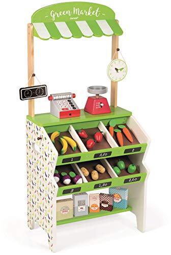 Woodega - Janod Holzspielzeug - Obst Gemüse Kaufladen Kaufmannsladen Green Market 32 Teile - 40 x 30 x 93 cm, lindgrün
