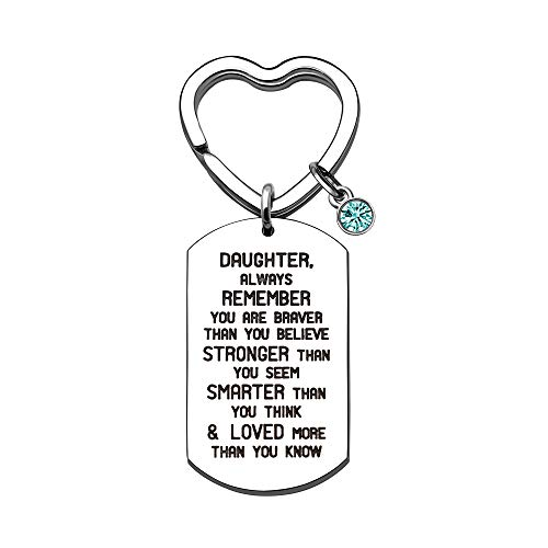 KENYG Inspirational Jewellery Gifts Silver Stainless Steel Dog Tag Key Ring Key Chain Key Fob for Daughter