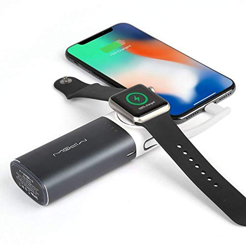 MIPOW Portable Apple Watch Charger, MFi Certified Magnetic 6000mAh Power Bank with Built-in iPhone Fast Charging Cord Cable, Pocket-sized Battery for iWatch Series 3 2 1 Nike 38mm 42mm