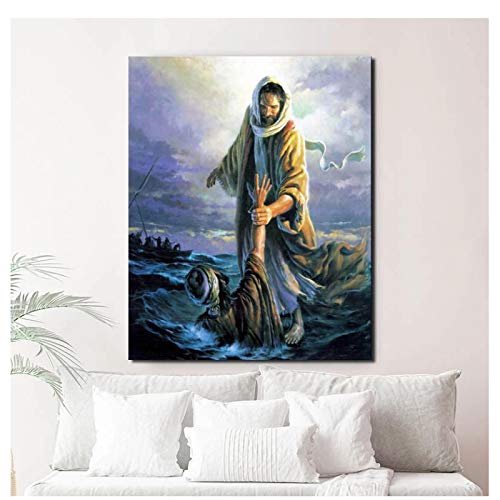 Kissherely Jesus Walking On The Water Abstract Art Canvas Poster Painting Oil Wall Picture Print Minimalist Home Bedroom Decoration Artwork-60X70cm Frameless