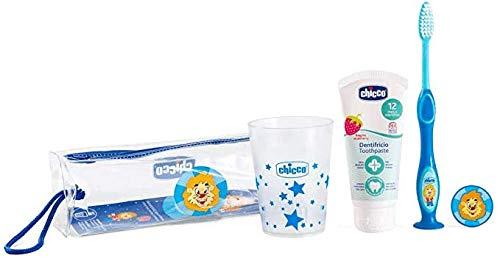 Chicco Set Igiene Orale Boy 36M+ Pochette Bicchiere Spazzolino Dentifricio
