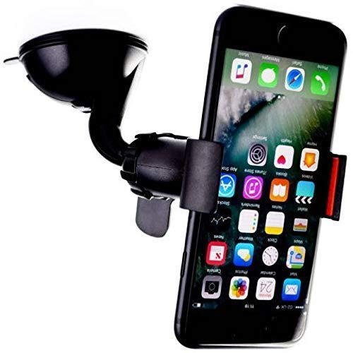 RM Lifestyle Universal Car Mobile Holder Clip Type with Multi-Angle 360 Degree Rotating Clip, Windshield Mirror Smartphone Car Cradle for Mobile Phone - Double Duck| Strong Suction Cup Base