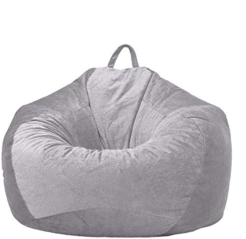 78Henstridge Bean Bag Cover Short Velvet Fabric Cozy Plush Toy Bean Bags Storage Chair Sofa Slipcover for Adults Children Without Fillings (Light Grey, 90 x 110 cm)