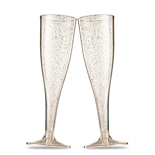 50 Gold Glitter Plastic Champagne Flutes 5 Oz Clear Plastic Toasting Glasses Disposable Wedding Party Cocktail Cups