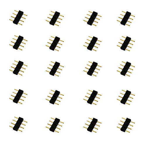 LitaElek 20x Schwarz 4 Pin Pol Kabel Verbinder Kupplung Adapter 4 polig Steckverbinder RGB LED Stecker für SMD 5050 3528 2835 RGB LED-Streifen LED Strip Leiste Streifenlicht