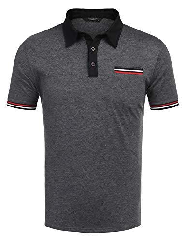 COOFANDY Poloshirt Herren Kurzarm Freizeit Polo Einfarbig Kragen Plaid Polohemd für Männer