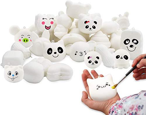 WATINC Zufällige 30Pcs DIY Squishy Creme Duft Kawaii Simulation Schönes Spielzeug Medium Mini Soft Food Squeeze Brot Toys Schlüsselanhänger, Telefonriemen, Bonus Random Aufkleber für Kinder