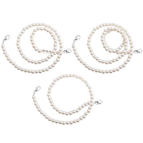 MEGAUK 3pcs Perlen Kette Trageriemen Taschenkette Schulterriemen Schultergurt Tragegurt mit Haken für Damen Handtaschen (Silber+Weiß)