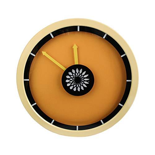 Emartbuy 13 Pulgadas (32.5 cm) Silencio Sin Tic TAC Bloques de Colores Decorativo Reloj de Pared de Cuarzo para la Cocina Sala Habitación Oficina - Amarillo Naranja