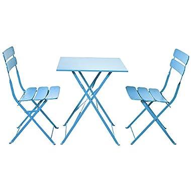 Grand patio Bistro Sets, Folding Outdoor Furniture Set for Bistro Patio Backyard, SkyBlue