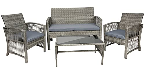 MT MALATEC Polyrattan Gartenmöbel Sitzgruppe Sofa Garnitur Gartenmöbel Gartenset Tisch 11961, Farbe:Grau-Grey