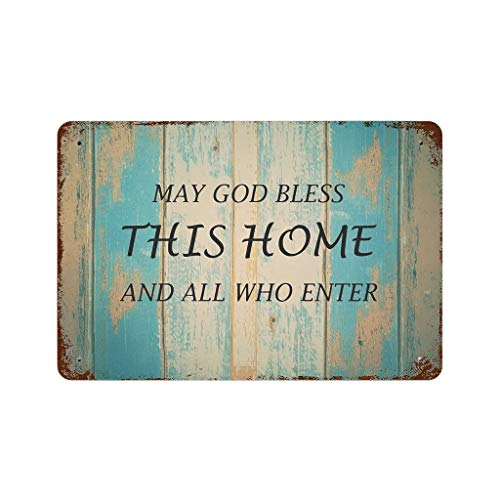 Knowikonwn Tin Sign God Bless This Home Enamel Metal Customizable Funny Wall Plaque - Iron Sign for Cafe Wall Art Gift Classic Decor white2 30x20cm