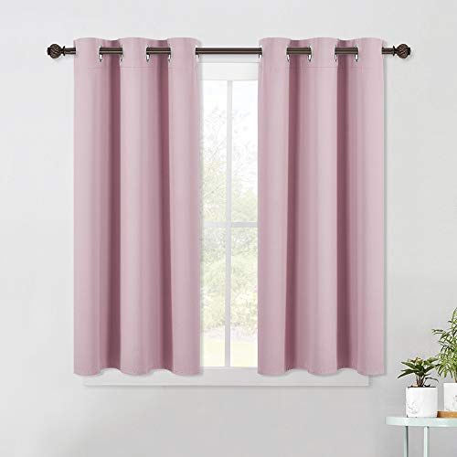 NICETOWN Blackout Curtain Panels for Girls Room, Nursery Essential Thermal Insulated Solid Grommet Top Blackout Drapes (Baby Pink=Lavender Pink, 1 Pair, 42 x 45 Inch)