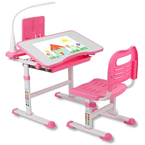 Functional Kids Desk and Chair Set Height Adjustable School Children Study Table with Light, Tiltable Desktop, Bookstand, Ergonomic Design Home Student Child Writing Desk with Storage Drawer, Pink