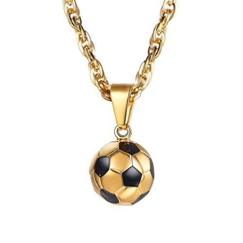PROSTEEL Chapado en Oro 18 k Collares Hombre de fútbol Regalo para Hombre Mujer
