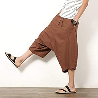 XuBa Fashion Summer Harem Shorts Low Crotch Chinese Style Loose Casual Bermuda Men Big Pocket Patchwork Thin Short Trousers
