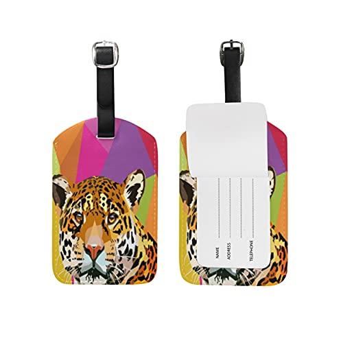 Leopardo Arte Pop Colorido Viaje Etiqueta del Equipaje con la Tarjeta de la ID del Nombre Etiquetas de la Maleta para Niños Niñas(3PACK)
