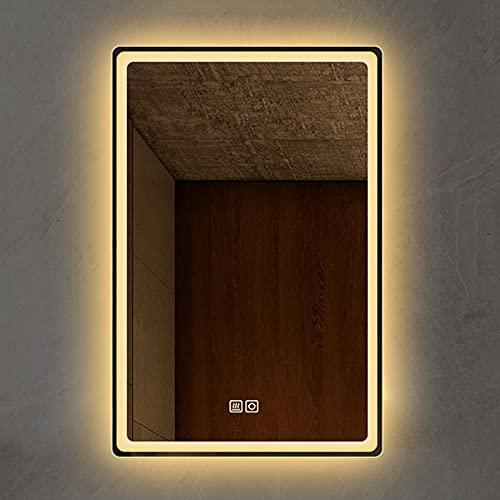 Yclty Specchio da Bagno con Luci a LED,Specchio da Trucco Rettangolare Dimmerabile,Antiappannamento,Sensore Tattile,da Appendere Verticale o Orizzontale (Color : Vertical Warm Light, Size : 50x70cm)