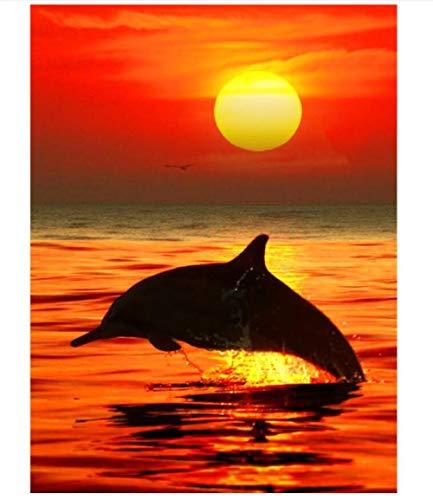 5D Diamante Pintura Obra De Arte Redondo Diamante Taladro Completo Decoración Y Regalos Juegos Familiares Llenos De Desafíos Salto Del Delfín