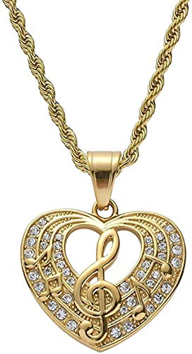 NC188 Símbolo de la música en Forma de corazón Micro Pave Zircon Gold Hip Hop Colgante Collar Joyería Femenina
