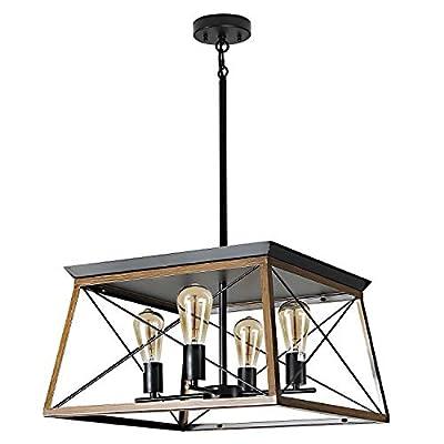 XIPUDA 4-Light Farmhouse Ceiling Pendant Light Fixture Kitchen Island Lighting Antique Industrial Metal Chandeliers(Walnut)