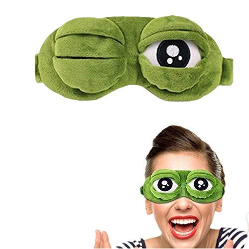 ShareCool Froschaugenmaske Schlafmaske Hautfreundliche Reise Schlafaugenmaske Netter Schlaf Eyeshade (Grün)