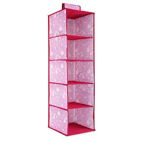 Navaris Organizer Appendiabiti Pensile per Bambini - Scaffali Verticali Appenditutto Porta Abiti Oggetti Giochi Bimbi - Organizzatore Rosa 5 Scomparti