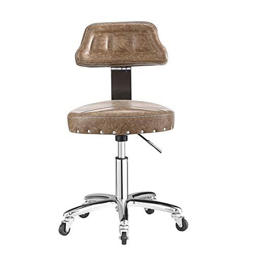 WANGXN Drehhocker auf Rädern, Verstellbarer Rollhocker, gepolsterter Sitz aus Kunstleder, Arbeitshocker für Schönheitsstudio, Büro, Klinik