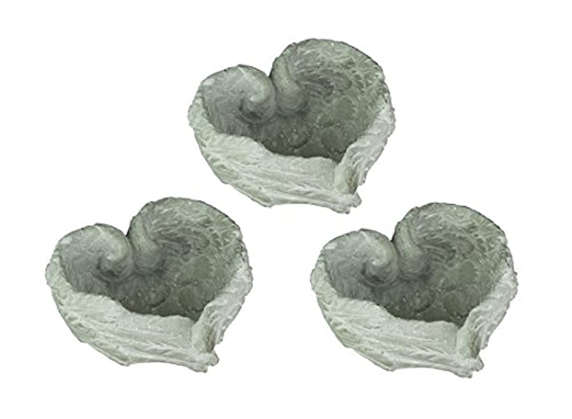 A&B Home Heart Shaped Cement Angel Wings Decorative Bowl Set of 3