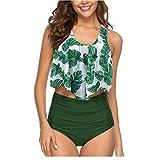 Mujer Conjunto Bikini Braga Alta De Frill Talla Grande Sexy Traje De Baño con Volantes Flores Green Leaves XL