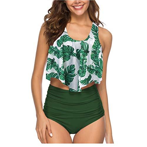 Summer Mae Damen Volant Hohe Taille Bikini Set Bedruckt Badeanzug Grün Blätter L