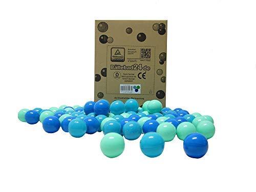 Bällebad24 - 200 bolas para piscina de bolas, mezcla de azul, verde y turquesa, calidad de juego, certificado TÜV y certificado 2019.