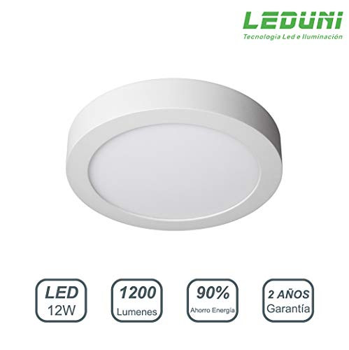 LEDUNI ® Downlight Plafón Superficie LED Redonda 12W 1200LM Color Blanco Frío 6000K Angulo 120 IP40 OPAL Aluminio 161 * 28Hmm