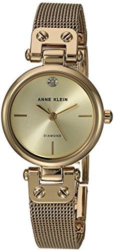 Anne Klein Reloj de Vestir para Mujer, de Cuarzo, Metal y Acero Inoxidable, Color: Dorado (Modelo: AK/3002CHGB)