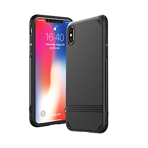 Kingriz Funda iPhone X, Funda iPhone XS, Carcasa Ligera Bumper Silicona Suave TPU Anti-Arañazos Anti-Golpes Protección de 360 Grados Caso Cover Case para iPhone X/XS-5.8 Pulgadas (Negro)