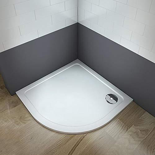 Plato de Ducha Semicircular Antideslizante Gelcoat Blanco Extraplano AICA 90x90 CM